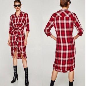 Zara red plaid twist-front dress